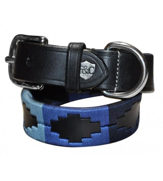 Cuir noir / brodé navy-bleu élèctrique-ciel